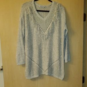 Just Fab Fringe Sweater Sz 1X Knit Long Length